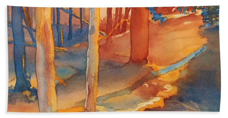 Spiritual Forest Beach Towel featuring the painting Spiritual Forest by Lise PICHE