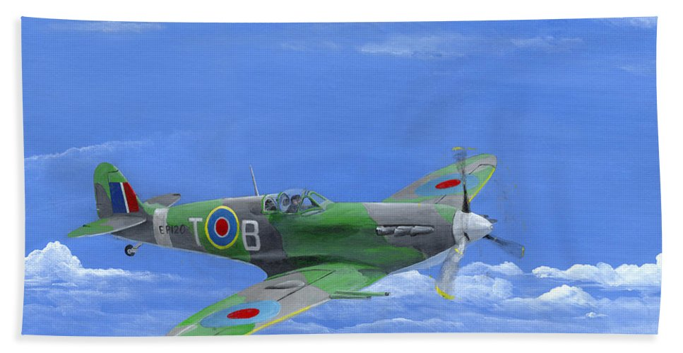 Airplane Beach Towel featuring the painting Spitfire by Glen Frear