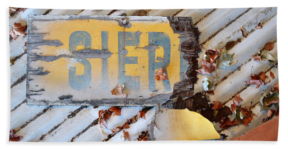 Broken Beach Towel featuring the photograph Splintered Signage by Holly Blunkall
