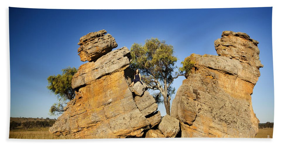 Australia Beach Towel featuring the photograph Split Rocks With Woman by Tim Hester