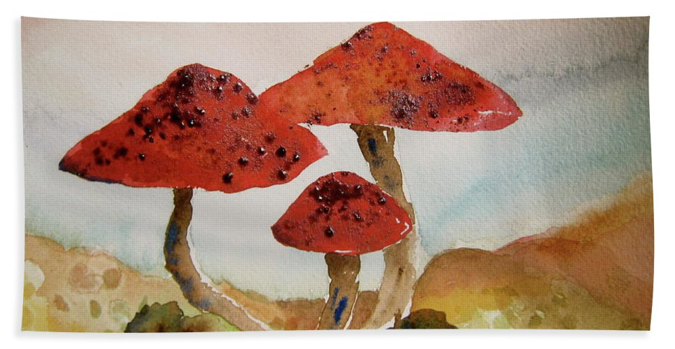 Mushroom Beach Towel featuring the painting Spotted Mushrooms by Beverley Harper Tinsley