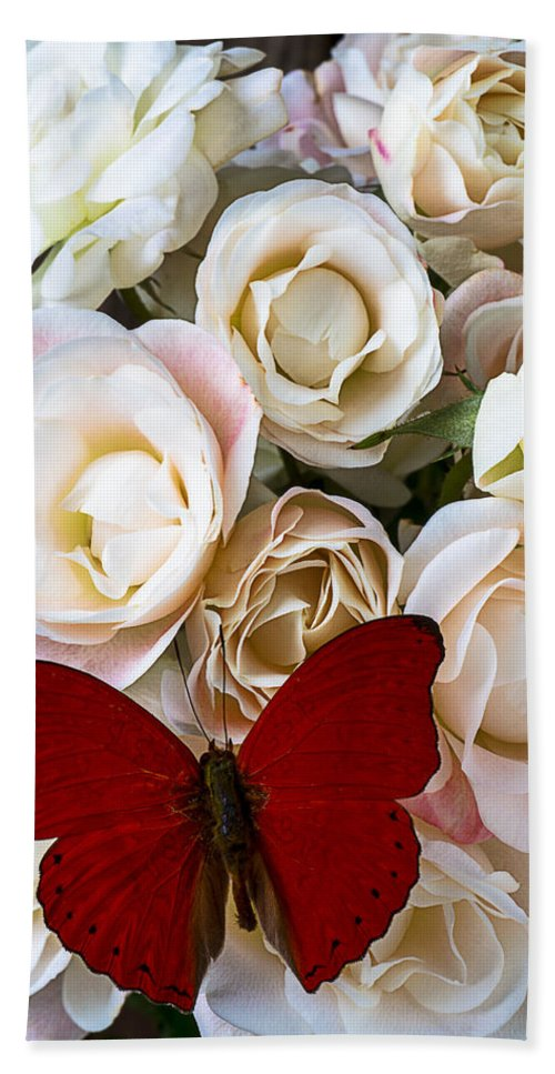 Spray Roses Beach Towel featuring the photograph Spray Roses And Red Butterfly by Garry Gay