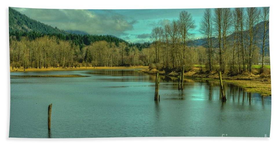 Mission Bc Beach Towel featuring the photograph Spring At The Nicomen Slough by Rod Wiens
