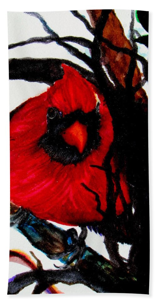 Cardinal Beach Towel featuring the painting Spring Cardinal by Lil Taylor