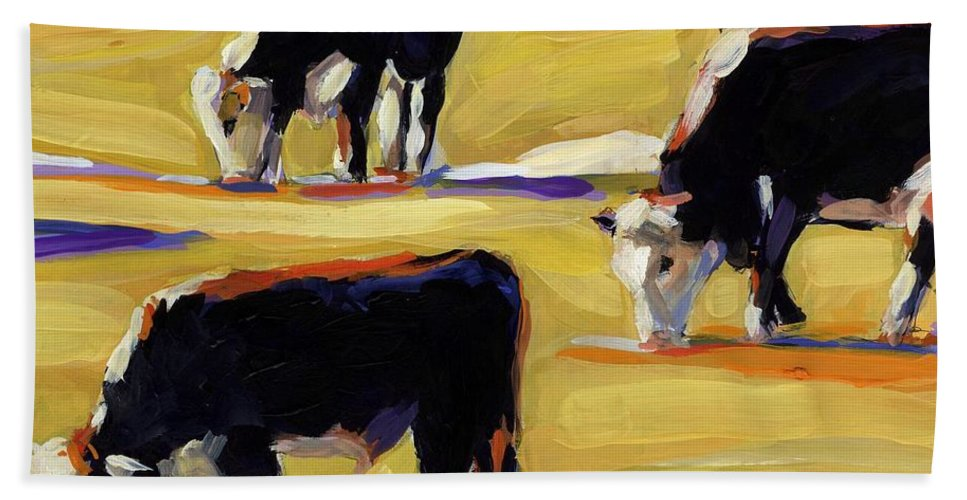 Cows Beach Towel featuring the painting Spring Field by Molly Poole