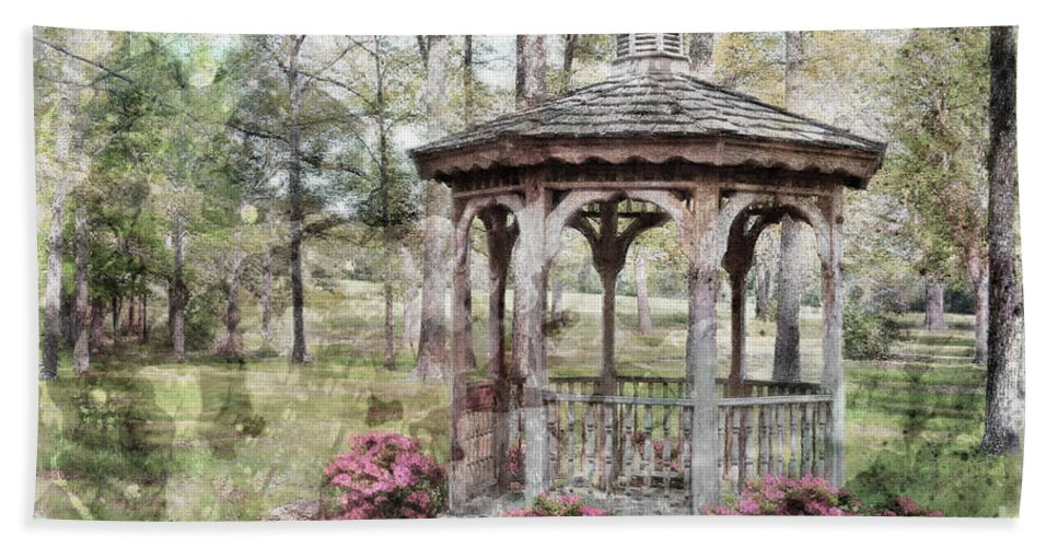 Nature Beach Towel featuring the photograph Spring Gazebo Painteffect by Debbie Portwood