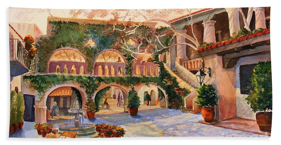 Sedona Beach Towel featuring the painting Spring In Tlaquepaque by Marilyn Smith
