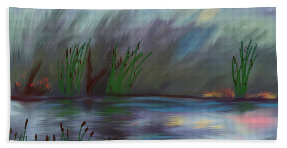 Reed Beach Towel featuring the painting Spring Reed In The Canyon by Angela Stanton