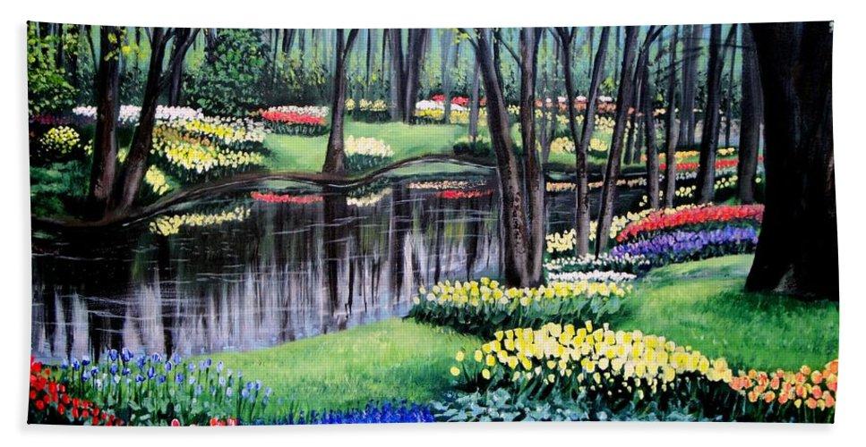 Garden Beach Sheet featuring the painting Spring Spendor Tulip Garden by Patricia L Davidson