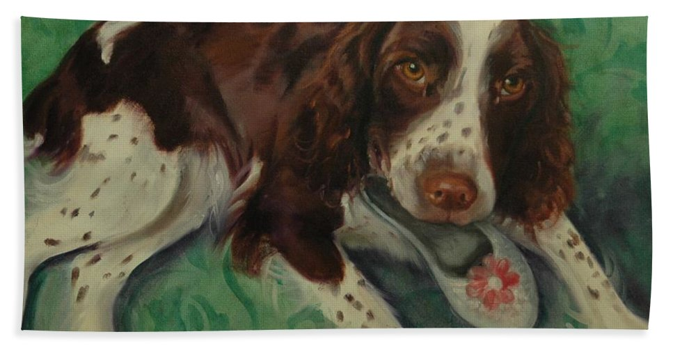Dog Beach Towel featuring the painting Springer Spaniel With Shoe by Pet Whimsy Portraits