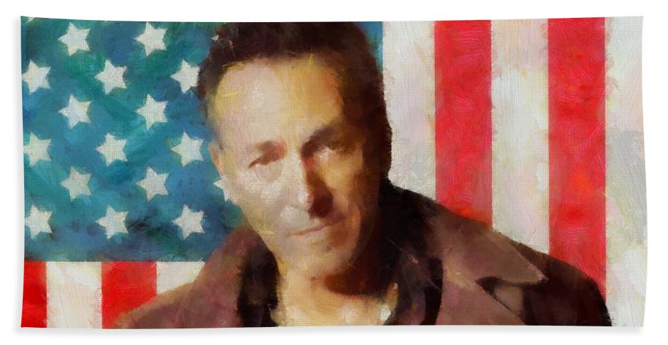 Springsteen American Icon Beach Towel featuring the digital art Springsteen American Icon by Dan Sproul