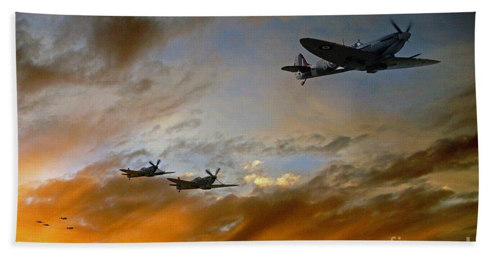 Supermarine Spitfire Beach Towel featuring the digital art Squadron Scramble by J Biggadike