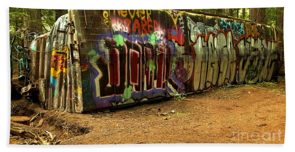 Train Wreck Beach Towel featuring the photograph Squamish Train Wreck by Adam Jewell