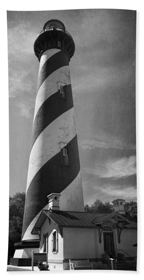 Joan Carroll Beach Towel featuring the photograph St Augustine Lighthouse Bw by Joan Carroll