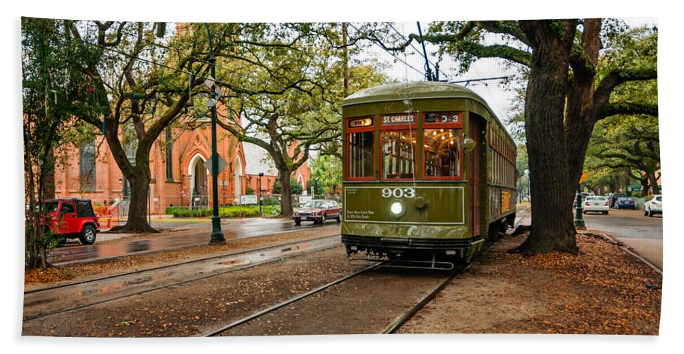 Garden District Beach Towel featuring the photograph St. Charles Ave. Streetcar In New Orleans by Kathleen K Parker