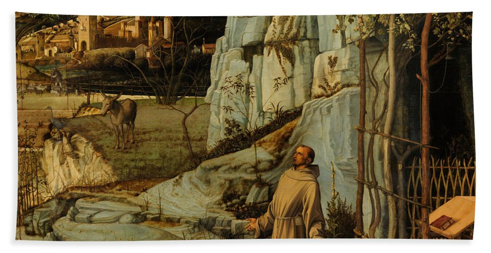 Bellini Beach Towel featuring the painting St Francis Of Assisi In The Desert by Giovanni Bellini