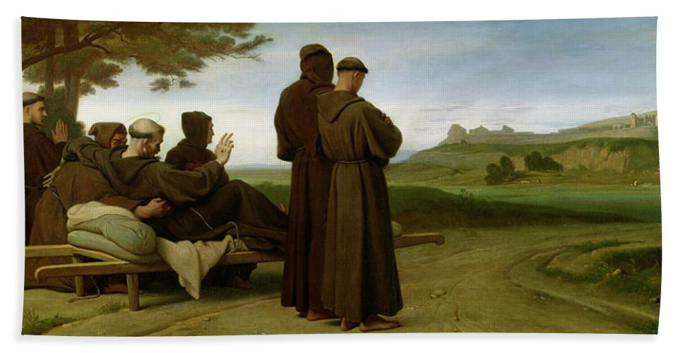Francis Beach Sheet featuring the painting Saint Francis Of Assisi, While Being Carried To His Final Resting Place At Saint-marie-des-anges by Francois Leon Benouville