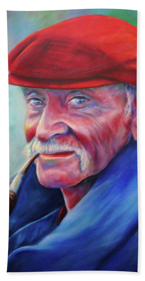 Portrait Beach Towel featuring the painting St. Francis by Shannon Grissom
