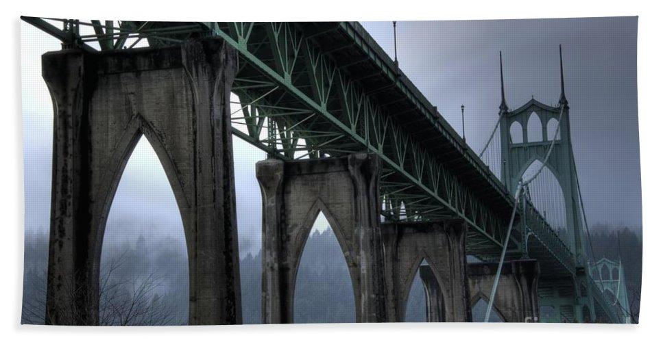 St Johns Bridge Beach Towel featuring the photograph St Johns Bridge Oregon by Bob Christopher