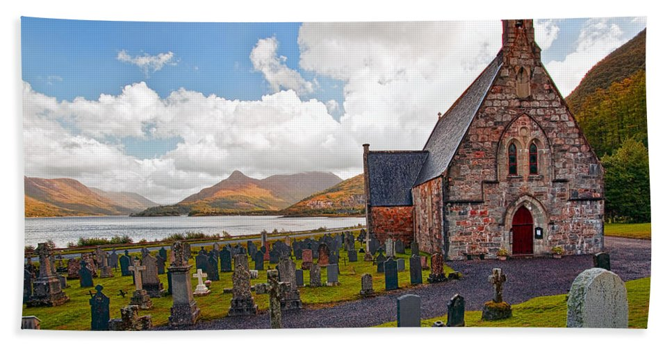 Architecture Beach Towel featuring the photograph St Johns Episcopal Ballachulish by Marcia Colelli