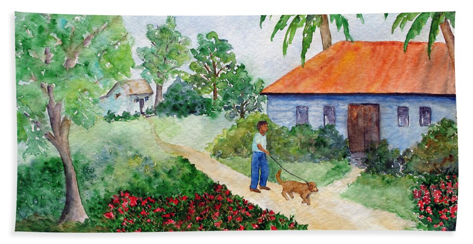 Barbados Beach Towel featuring the painting St Lawrence Gap by Patricia Beebe