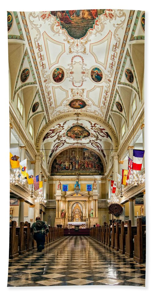 French Quarter Beach Towel featuring the photograph St. Louis Cathedral by Steve Harrington