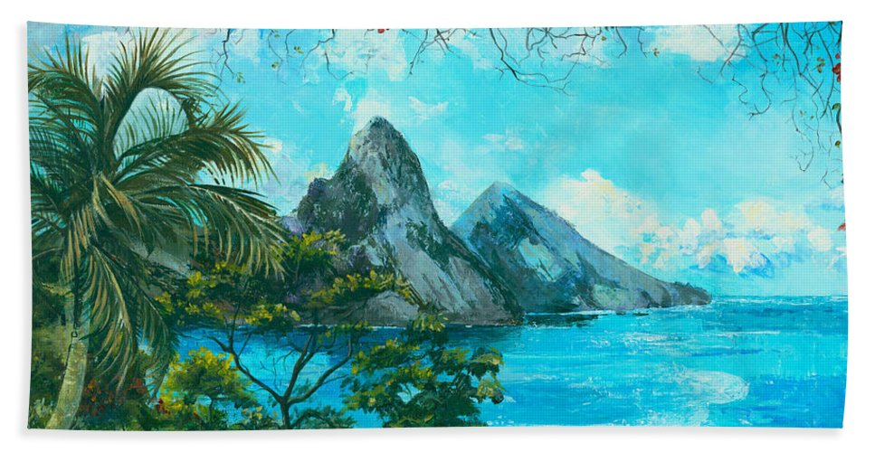 Mountains Beach Sheet featuring the painting St. Lucia - W. Indies by Elisabeta Hermann
