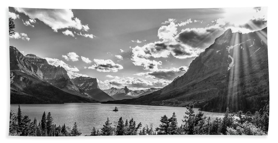Lake Beach Towel featuring the photograph St. Mary Lake Bw by Aaron Aldrich