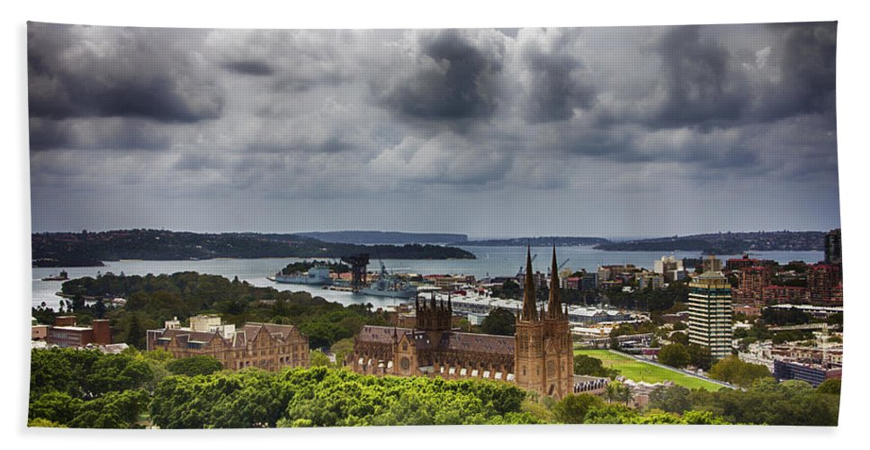 St Mary's Cathedral Beach Towel featuring the photograph St Mary's Cathedral - Sydney Australia V2 by Douglas Barnard