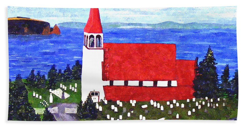 Church Beach Towel featuring the painting St. Philip's Church by Barbara Griffin