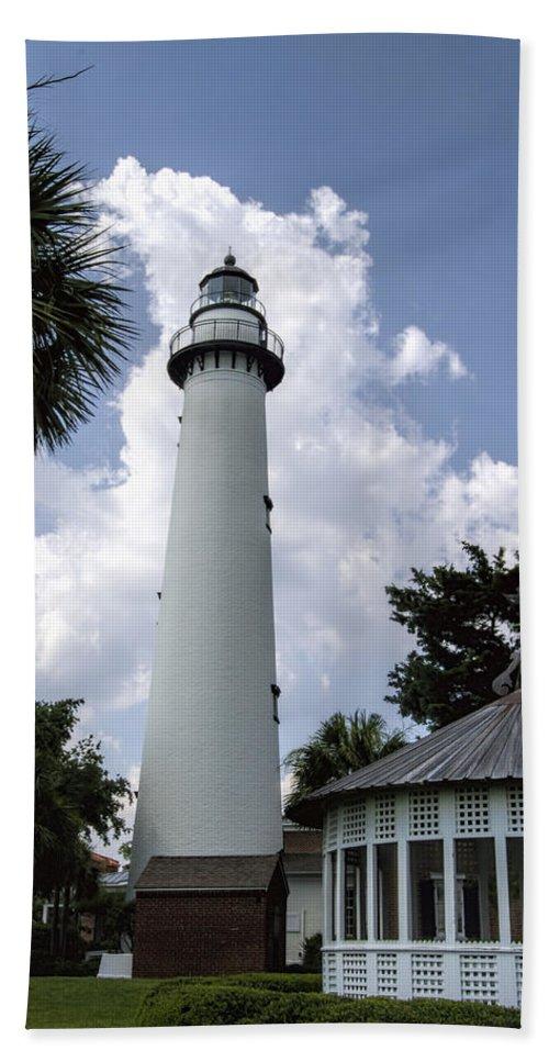 Saint Beach Towel featuring the photograph St. Simon's Island Georgia Lighthouse by Kathy Clark