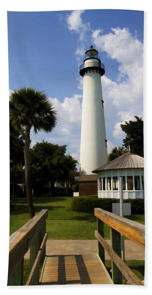 Saint Beach Towel featuring the photograph St. Simon's Island Georgia Lighthouse Painted by Kathy Clark