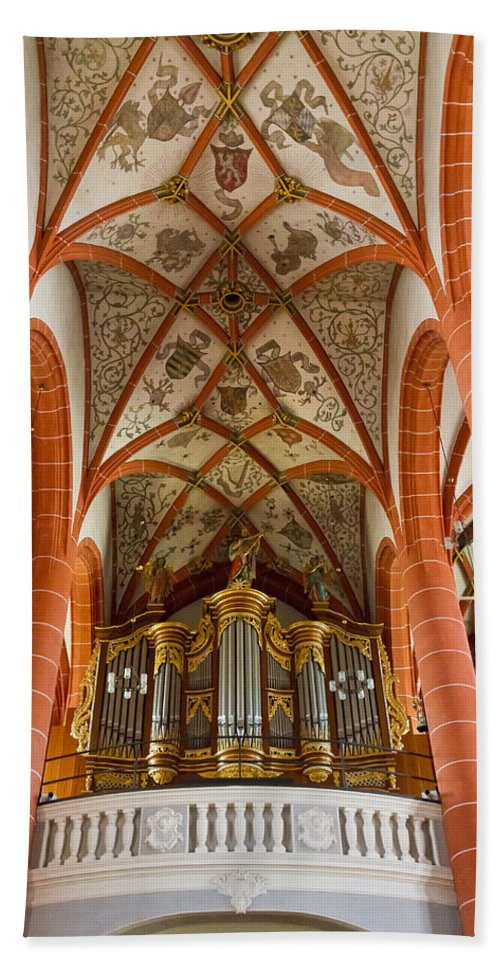 Germany Beach Towel featuring the photograph St Wendel Basilica Organ by Jenny Setchell