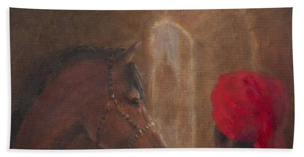 Stable Beach Towel featuring the photograph Stables, Jodhpur, 2014 Oil On Canvas by Lincoln Seligman