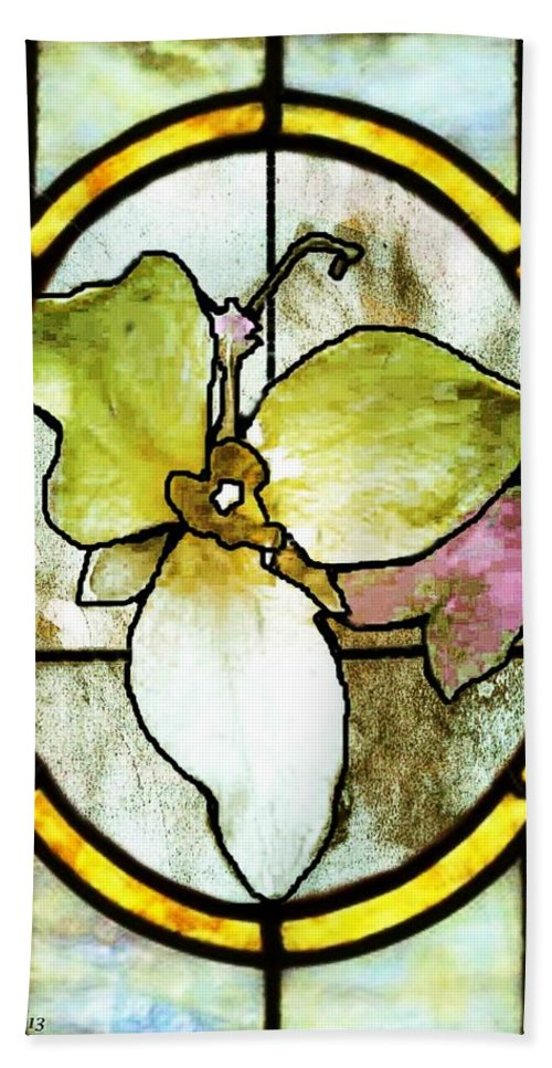 Stained Glass Template. Flower Beach Towel featuring the photograph Stained Glass Template Woodlands Flora by Ellen Cannon