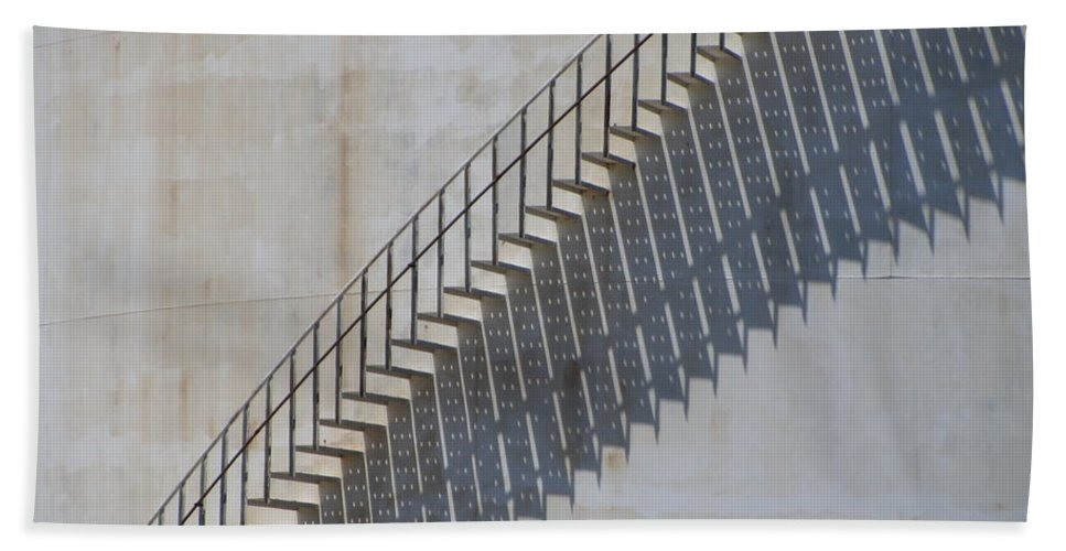Jones Island Beach Towel featuring the photograph Stairs And Shadows 1 by Anita Burgermeister