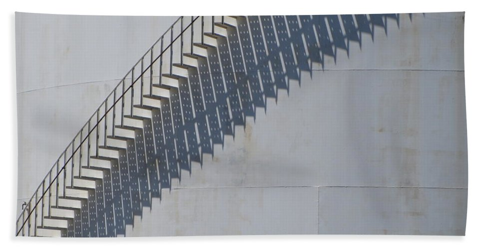 Jones Island Beach Towel featuring the photograph Stairs And Shadows 3 by Anita Burgermeister