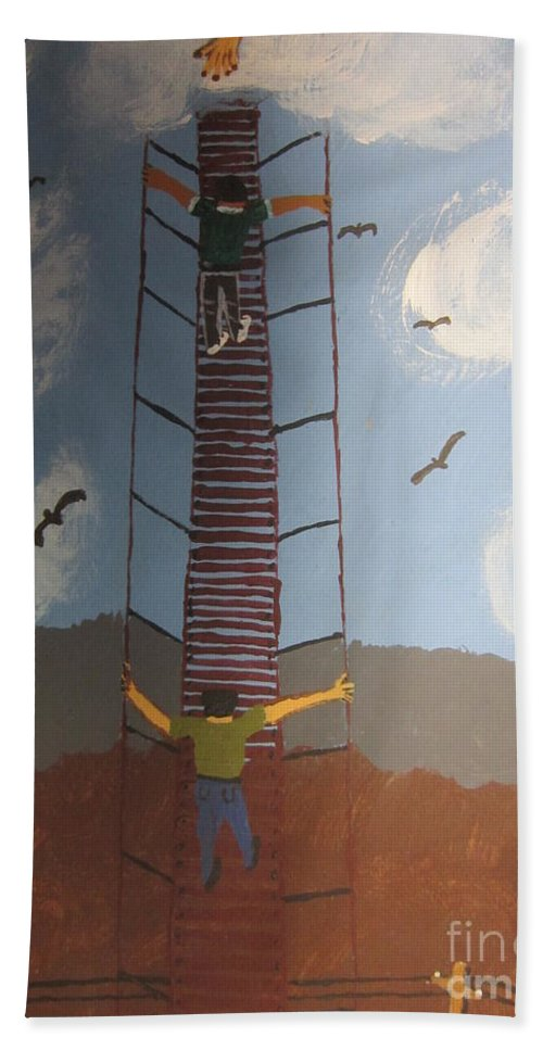 Blue Beach Towel featuring the painting Stairway To Heaven by Jeffrey Koss