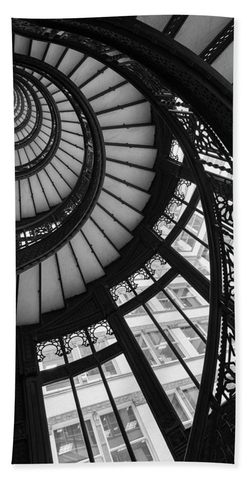 Rookery Beach Towel featuring the photograph Stairwell The Rookery Chicago IL by Steve Gadomski