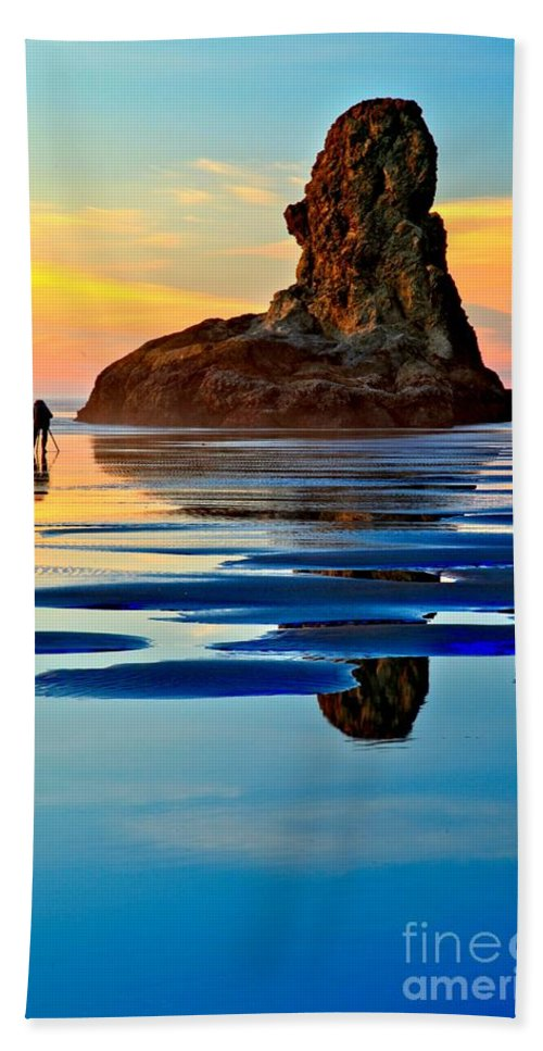 Bandon Beach Beach Towel featuring the photograph Standing In A Sea Of Blue by Adam Jewell
