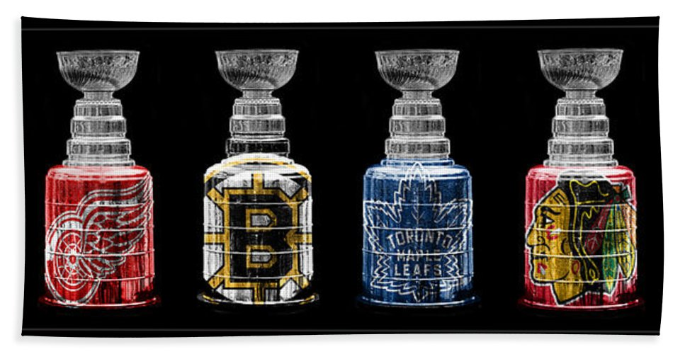 Hockey Beach Towel featuring the photograph Stanley Cup Original Six by Andrew Fare
