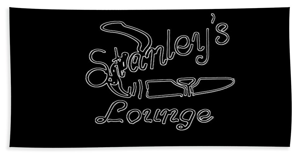 Beach Towel featuring the photograph Stanley's Lounge In White Neon by Kelly Awad