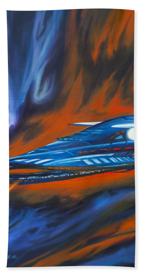 Jameshillgallery.com Beach Towel featuring the painting Star Cruiser by James Christopher Hill
