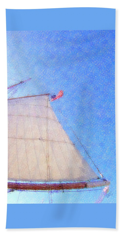 Nautical Beach Towel featuring the photograph Star Of India. Flag And Sail by Ben and Raisa Gertsberg