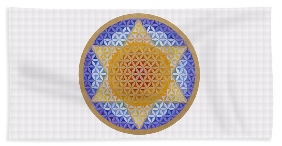 Mandala Beach Towel featuring the painting Starflower by Mayki Wiberg