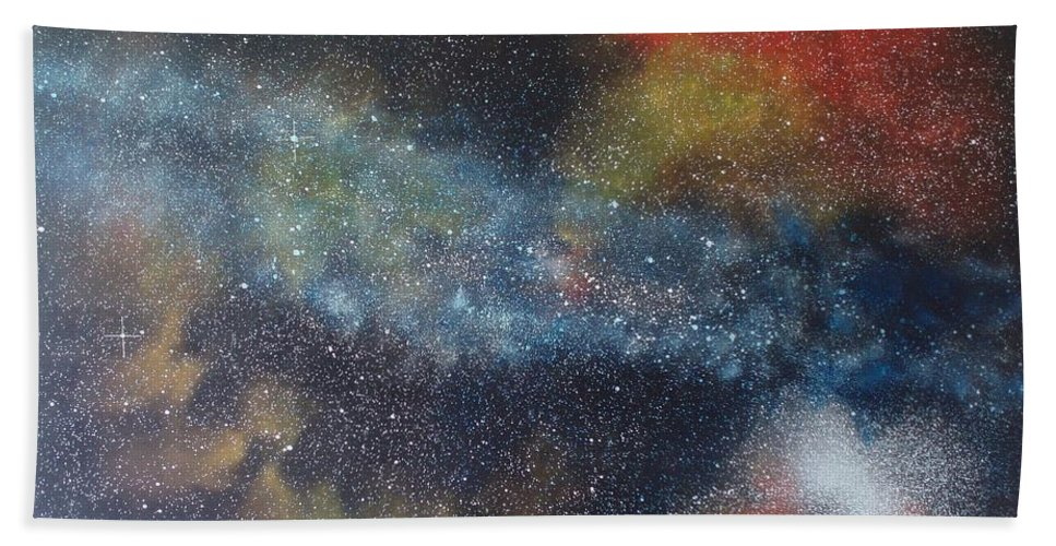 Space;stars;starry;nebula;spiral;galaxy;star Cluster;celestial;cosmos;universe;orgasm Beach Towel featuring the painting Stargasm by Sean Connolly
