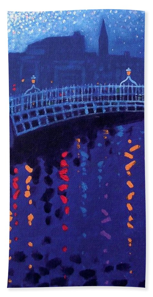 Acrylic Beach Towel featuring the painting Starry Night In Dublin by John Nolan
