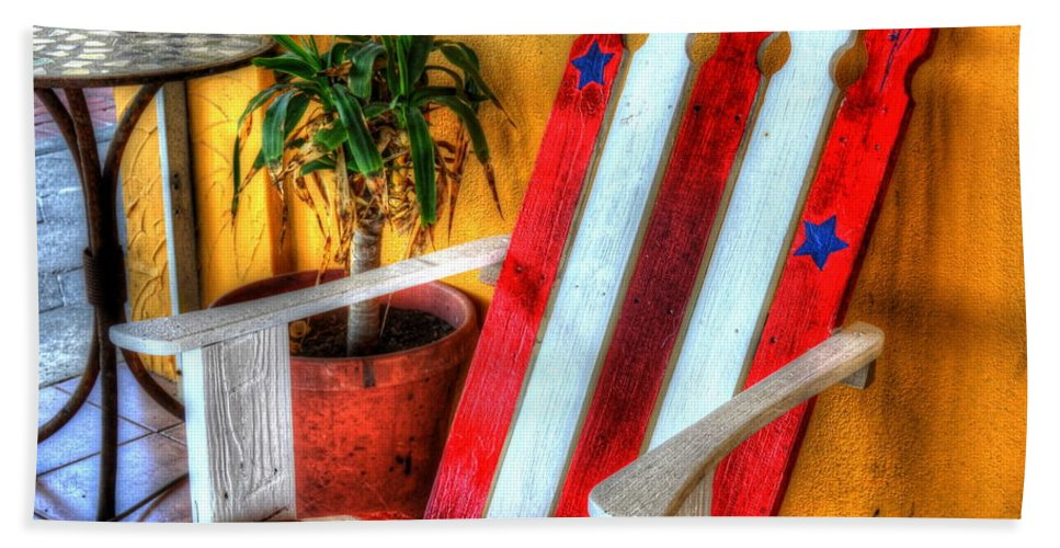 Chair Beach Towel featuring the photograph Stars And Stripes by Debbi Granruth