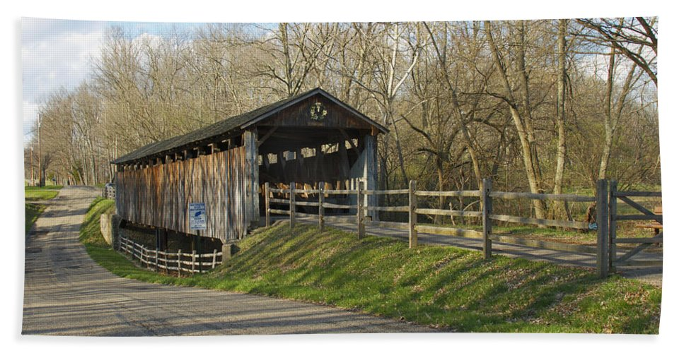 Ohio Beach Towel featuring the photograph State Line Or Bebb Park Covered Bridge by Jack R Perry