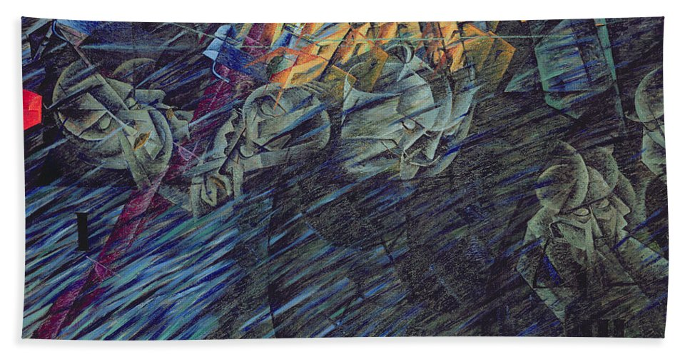 Modern Beach Towel featuring the painting States Of Mind  Those Who Go by Umberto Boccioni
